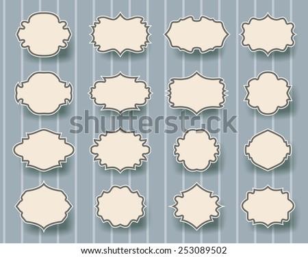 set of vintage frames on striped retro background - stock vector