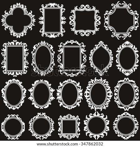 set of vintage frames, various shape, vector design elements - stock vector