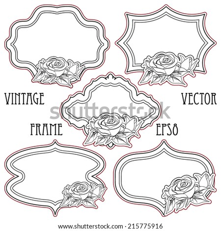 Set of vintage frames with roses, isolated on white. Vector illustration. - stock vector