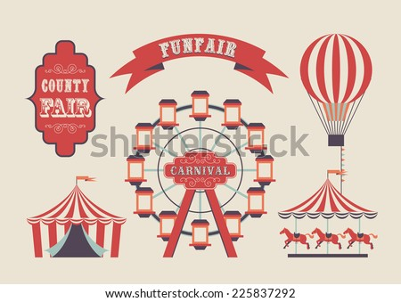 Set of vintage funfair symbols. EPS10 vector flag design.  - stock vector
