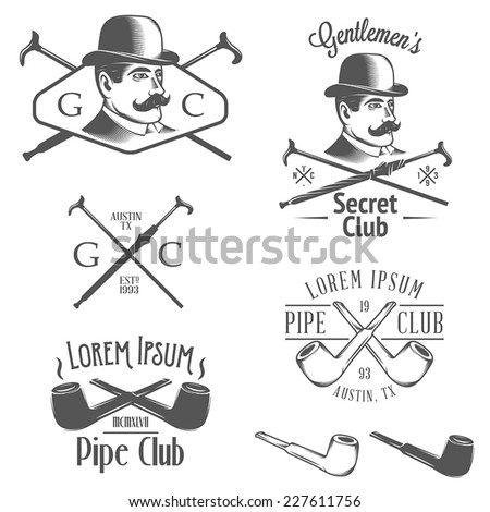 Set of vintage gentlemen club design elements - stock vector