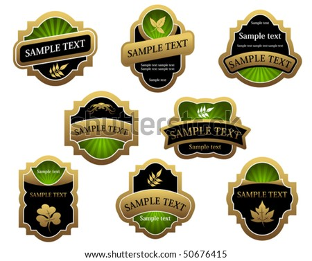 Set of vintage golden labels for design food and beverages. Jpeg version also available in gallery - stock vector
