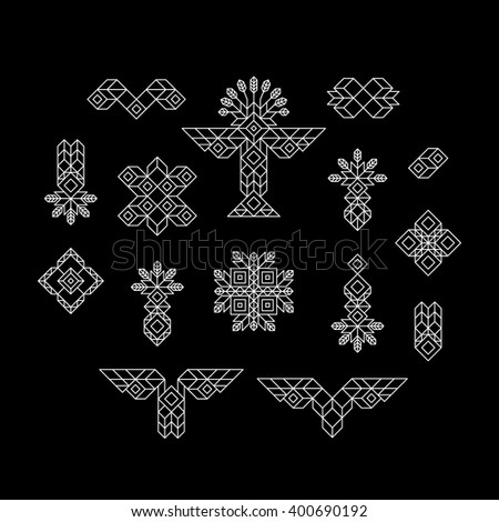 Set of Vintage Graphic Elements for Design. Line Art Design for Invitations, Posters. Linear Element. Geometric Style. Lineart Vector Illustration. Geometric Linear Border, Divider. Page Decoration. - stock vector
