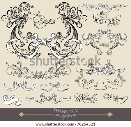 set of vintage hand-drawn elements - cool for invitation card - stock vector