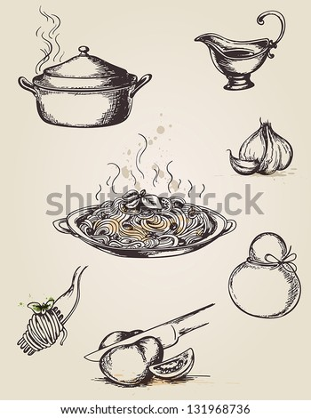 Set of vintage hand drawn pasta and tableware - stock vector