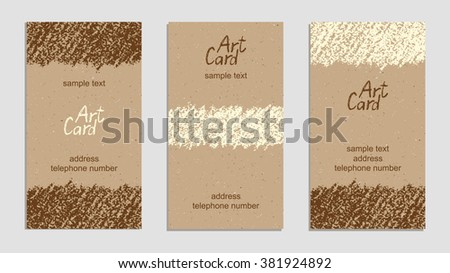 Set of vintage handmade business cards with hand drawing textures. Hand drawing copy space on craft paper background. Crayon pastel chalk art lines and design elements, vector. - stock vector