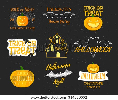 Set Of Vintage Happy Halloween Badges, Labels, Logos. Halloween funny Set. Bat, pumpkin, Flat Icons and Other Elements. Vector illustration. Cute Halloween Characters. - stock vector