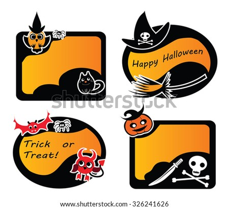 Set Of Vintage Happy Halloween Labels and stickers. Witch, Owl, Devil, Vampire Bat, Jack-O-Lantern, Scull and Bones, Black Cat, Broom - vector illustration of Cute Halloween elements. Eps 10. - stock vector