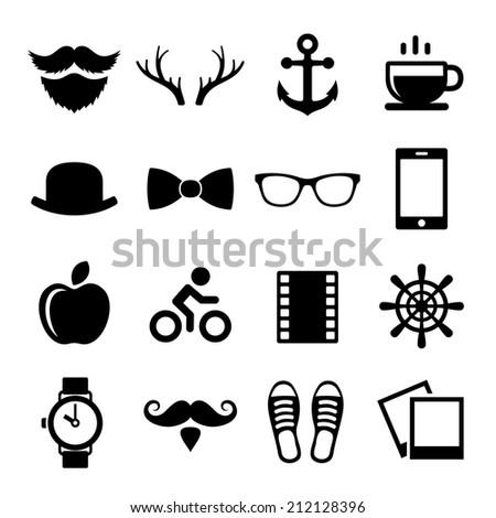 Set of Vintage Hipster Icons and Logos. Vector illustration - stock vector