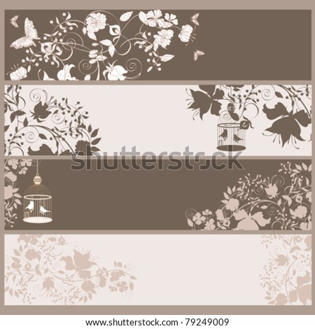 Set of 4 vintage horizontal banners flowers and  birds in cage. - stock vector