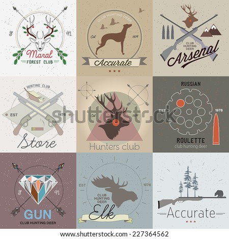 Set of vintage hunting labels and design elements - stock vector