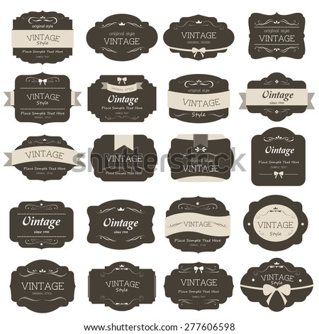 Set Vintage Label Old Fashion Banner Stock Photo Photo Vector
