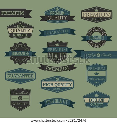 Set of vintage label - quality seal, high quality, premium, guarantee, excellent quality - stock vector