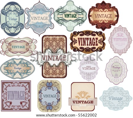 set of vintage  labels - stock vector