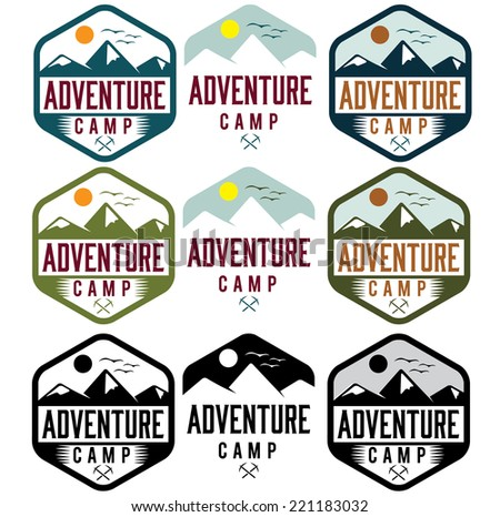 set of vintage labels adventure camp - stock vector