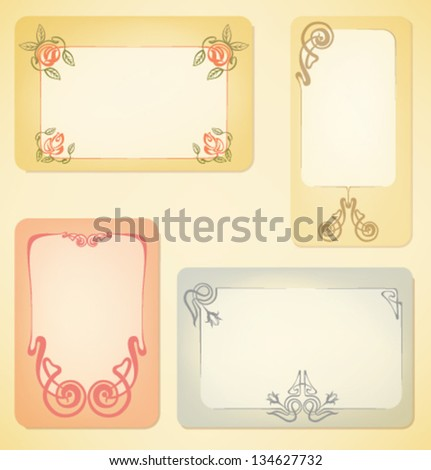 set of vintage labels decorated in antique style - stock vector