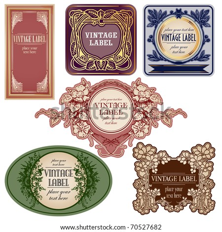 set of vintage labels isolated over white - stock vector