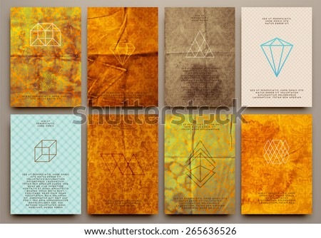 Set of Vintage Labels, Logo, Frames, Floral Patterns and Brochures. Vector Design Templates Collection for Banners, Flyers, Placards and Posters. Retro Backgrounds. - stock vector