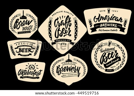 Set of Vintage Labels, Logo Templates For Beer House, Brewing Company, Pub, Bar