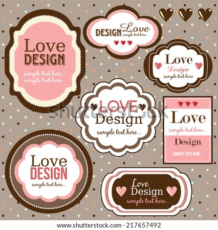 Set of vintage labels,love design - stock vector