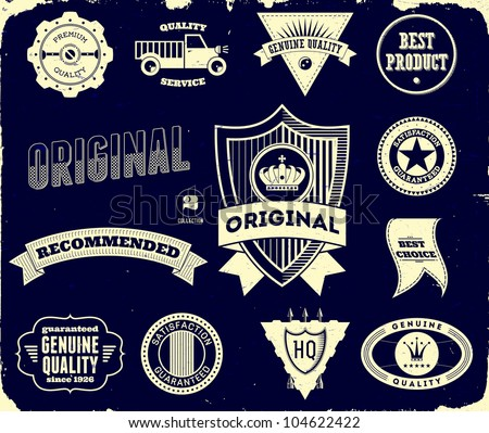 Set of vintage labels on the black. Collection 2 - stock vector