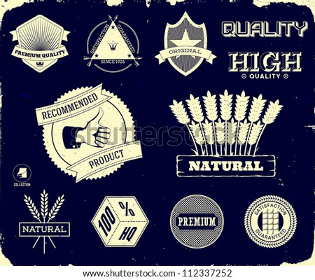 Set of vintage labels on the black. Collection 3 - stock vector