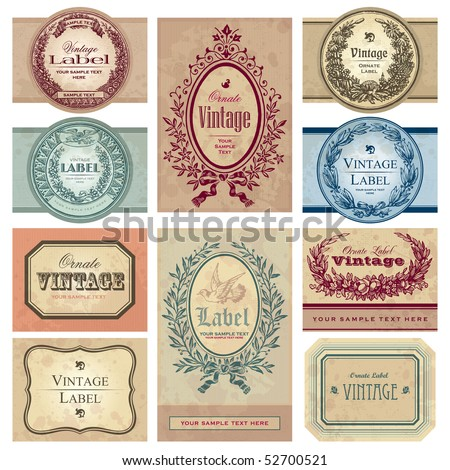 set of 10 vintage labels with antique design elements of various styles, vector - stock vector