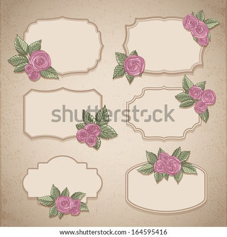 Set of vintage labels with flowers - stock vector