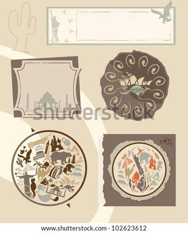 Set of vintage labels with landmarks - stock vector