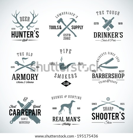 Set of Vintage Labels With Retro Typography for Men's Hobbies Such as Hunting Arms Dog Breeding Car Repair etc - stock vector