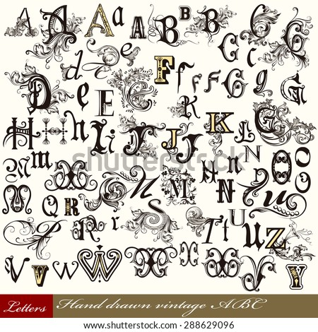 Set of vintage letters English alphabet hand drawn swirl letters - stock vector