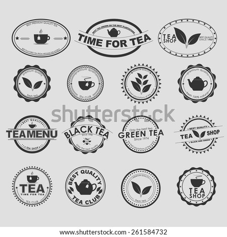 Set of vintage logo on a white background for tea shops, cafes and restaurants. Vector element design, logos, stickers, icons, business signs. - stock vector