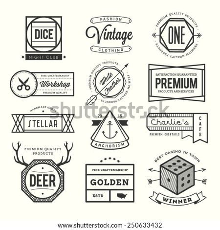 set of vintage logos, badges and labels, vector illustration - stock vector