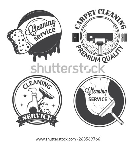 Set of vintage logos, labels and badges cleaning services. Isolated on white background - stock vector