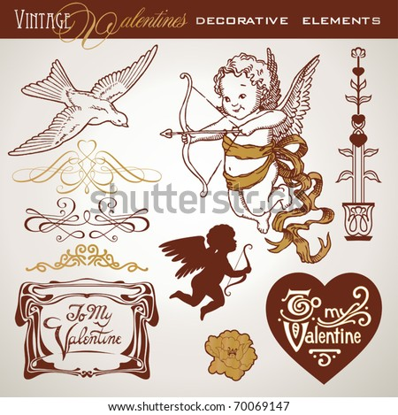 set of vintage-looking design elements for valentines cards - stock vector