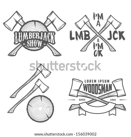 Set of vintage lumberjack labels, emblems and design elements - stock vector