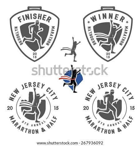 Set of vintage marathon labels, medals and design elements - stock vector
