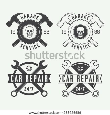Set of vintage mechanic labels, emblems and logo. Vector illustration - stock vector