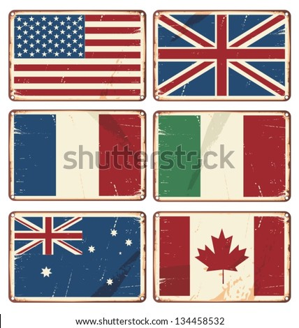 Set of vintage metal signs with flags. Vector illustration of retro tin signs with state flags. Textured grungy flags backgrounds. - stock vector