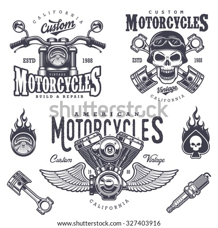 Set of vintage motorcycle emblems, labels, badges, logos and design elements. Monochrome style. - stock vector