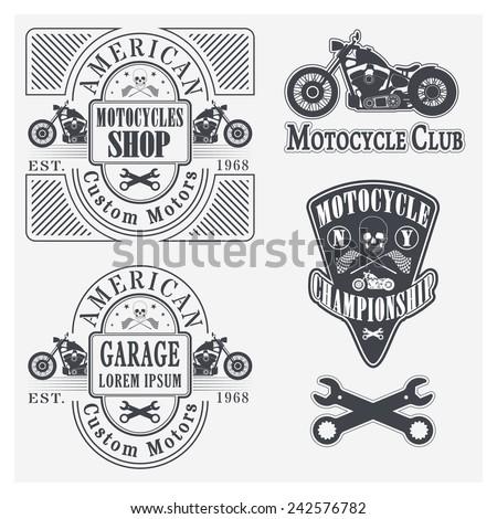 Set of vintage motorcycle labels, badges and design elements - stock vector