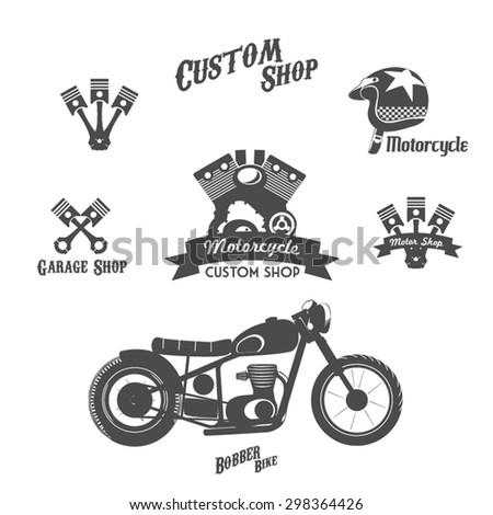 Set of vintage motorcycle labels, badges and design elements. - stock vector