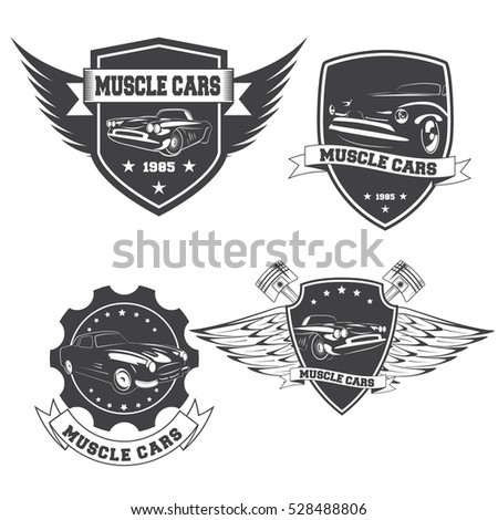 Set of vintage muscle car logos isolated on white background.Vector illustration.