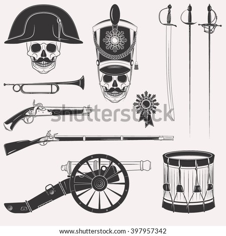 Set of vintage Napoleon Empire French Russian war uniform, equipment, weapons, horn, drum, cannon, sword, rapier, medal, skull in hats isolated on white background - stock vector
