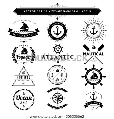 Set of vintage  nautical badges and labels