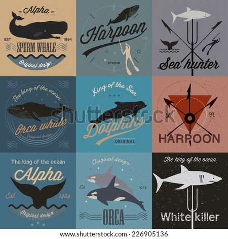 Set of vintage nautical labels, icons and design elements. Vector. - stock vector