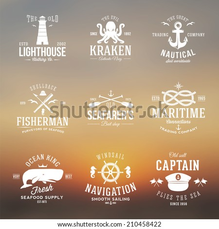 Set of Vintage Nautical Labels Logos and Signs With Retro Typography on Blurred Background Anchors Steering Wheel Knots Seagulls and Wale  - stock vector