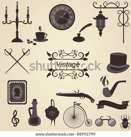 Set of vintage objects, vector - stock vector
