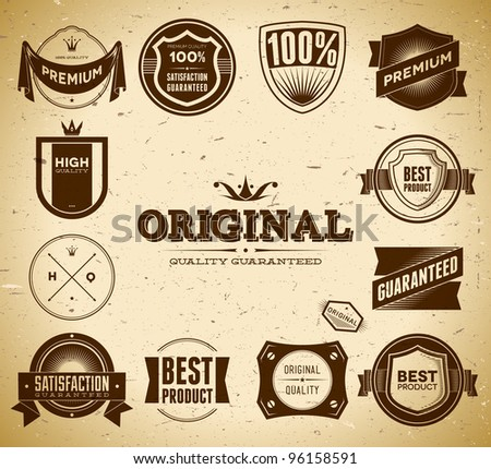 Set of vintage Original an Premium Quality labels - stock vector