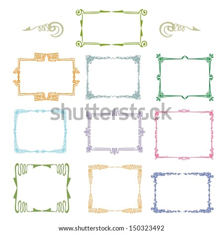set of vintage ornamental border  - stock vector